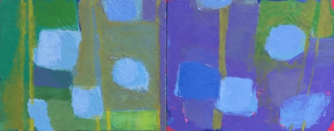 Neighborhood Patterns Diptych 30 x 60 Oil on Canvas