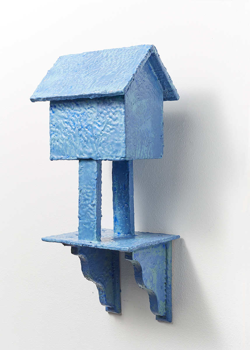 "Blue House on Stilts | 2017 | Encaustic wax on wood panel | 35"" x 4"" x 12"""