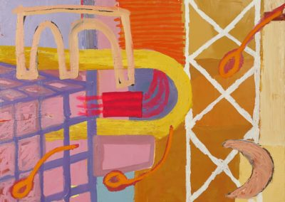 "Scaffolding with Fluorescent Pink  |  2019  |  Oil on Canvas  |  36"" x 48"""